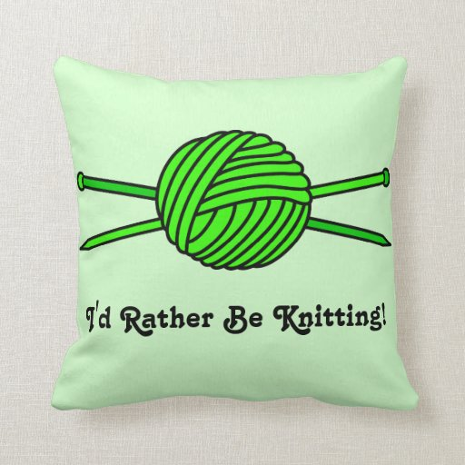Lime Green Ball of Yarn & Knitting Needles Pillows