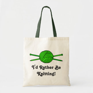 Lime Green Ball of Yarn & Knitting Needles Tote Bag
