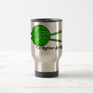 Lime Green Ball of Yarn & Knitting Needles Travel Mug