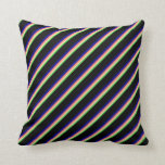 [ Thumbnail: Lime Green, Beige, Salmon, Dark Blue & Black Throw Pillow ]