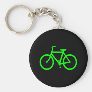 Lime Green Bike Basic Round Button Keychain