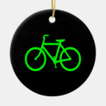 Lime Green Bike Double-Sided Ceramic Round Christmas Ornament