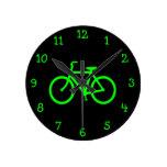 Lime Green Bike Round Clock