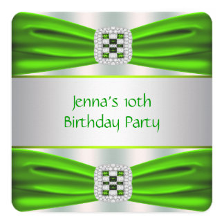Lime Green Birthday Party 5.25x5.25 Square Paper Invitation Card