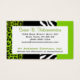 Lime Green & Black Animal Print Zebra and Leopard Business Card