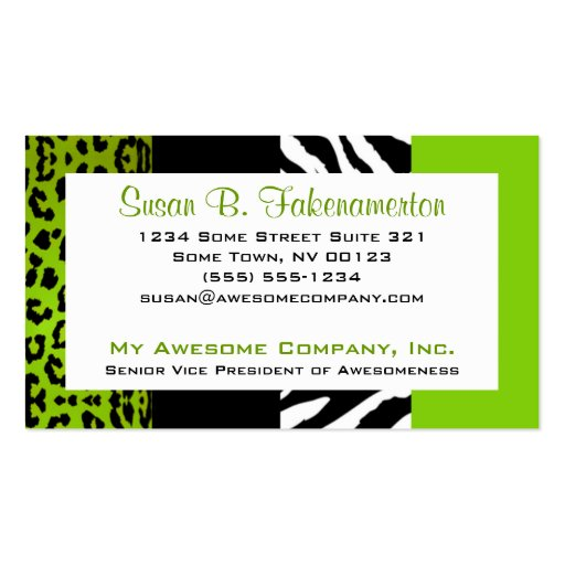 Leopard print business cards business card templates bizcardstudio lime green black animal print zebra and leopard business cards colourmoves Image collections