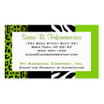Lime Green & Black Animal Print Zebra and Leopard Double-Sided Standard Business Cards (Pack Of 100)