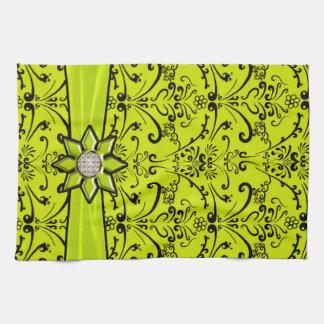 Lime Green & Black Baroque Ribbon & Star Towels