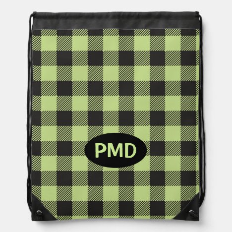 Lime Green Black Buffalo Plaid Monogram Initials Drawstring Bag