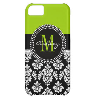 Lime Green Black Damask iPhone 5 Case-Mate