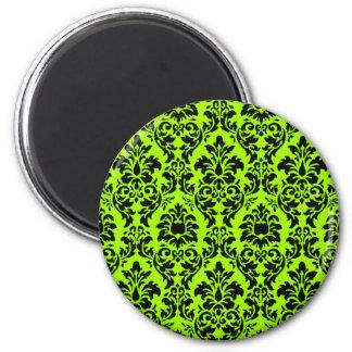 Lime Green & Black Damask Magnet