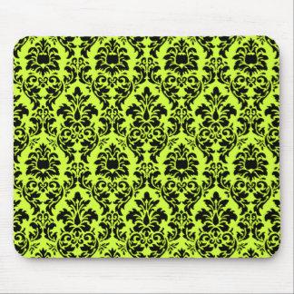 Lime Green & Black Damask Mouse Pad