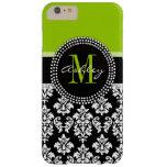 Lime Green Black Damask Pattern Monogrammed Barely There iPhone 6 Plus Case