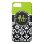 Lime Green Black Damask Pattern Monogrammed Iphone 7 Plus Case at Zazzle