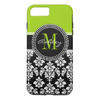 Lime Green Black Damask Pattern Monogrammed iPhone 7 Plus Case