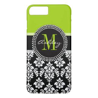 Lime Green Black Damask Pattern Monogrammed iPhone 8 Plus/7 Plus Case