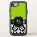 Lime Green Black Damask Pattern Monogrammed Otterbox Defender Iphone 7 Case at Zazzle