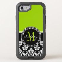 Lime Green Black Damask Pattern Monogrammed OtterBox Defender iPhone 7 Case