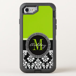 Lime Green Black Damask Pattern Monogrammed OtterBox Defender iPhone 7 Case
