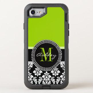 Lime Green Black Damask Pattern Monogrammed OtterBox Defender iPhone 8/7 Case