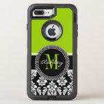 Lime Green Black Damask Pattern Monogrammed Otterbox Defender Iphone 8 Plus/7 Plus Case at Zazzle
