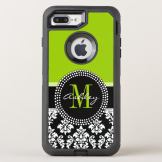 Lime Green Black Damask Pattern Monogrammed OtterBox Defender iPhone 8 Plus/7 Plus Case