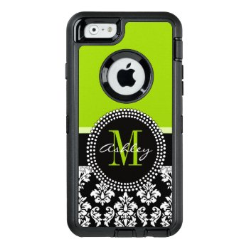 Lime Green Black Damask Pattern Monogrammed Otterbox Defender Iphone Case by DamaskGallery at Zazzle