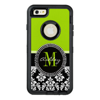 Lime Green Black Damask Pattern Monogrammed OtterBox iPhone 6/6s Plus Case