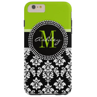 Lime Green Black Damask Pattern Monogrammed Tough iPhone 6 Plus Case