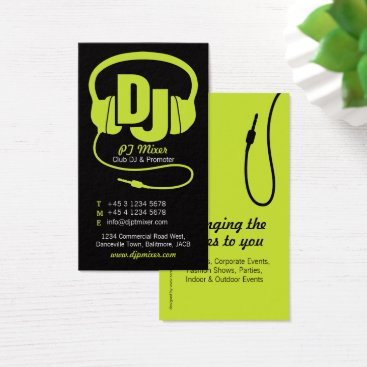 Professional Business Lime green & black DJ promoter business card