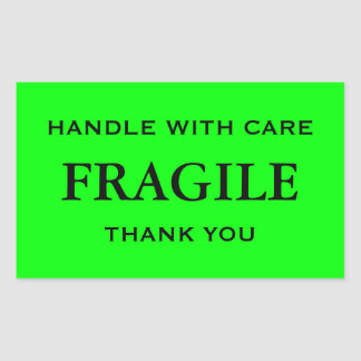 Lime Green/Black Fragile. Handle with Care. Rectangular Sticker