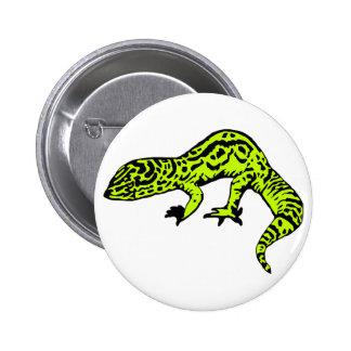 Lime Green & Black Gecko Button