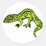 Lime Green & Black Gecko Round Sticker