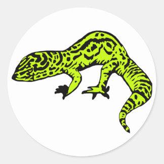 Lime Green Black Gecko Round Sticker