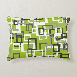 Lime Green Black Gray White Geometric Throw Pillow