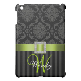 LIME GREEN, BLACK GREY DAMASK MONOGRAM COVER FOR THE iPad MINI