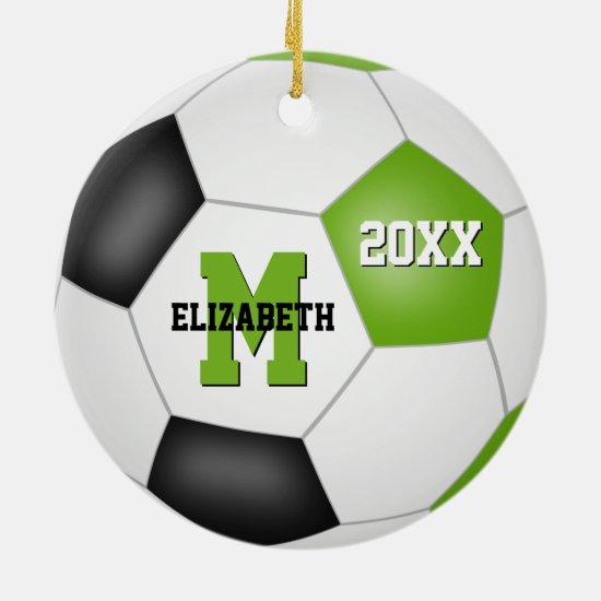 lime green black kids keepsake soccer ceramic ornament
