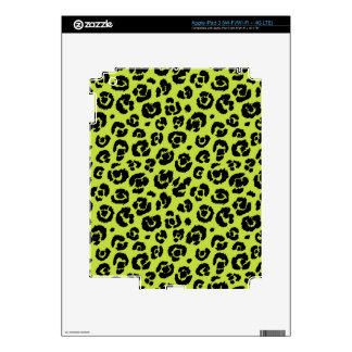Lime Green Black Leopard Print iPad 3 Skins
