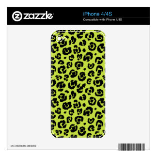 Lime Green Black Leopard Print Skins For iPhone 4S
