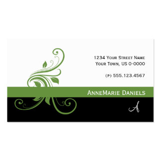 Lime Green Black Lime Green Floral Swirls Double-Sided Standard Business Cards (Pack Of 100)
