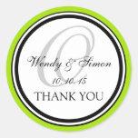 Lime Green Black Monogram O Wedding Thank You Classic Round Sticker