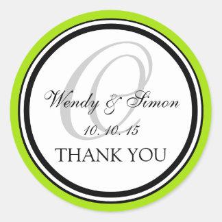 Lime Green Black Monogram O Wedding Thank You Round Stickers