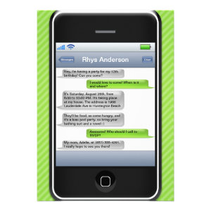 Lime Green/Black Smart Phone iParty Birthday Party Personalized Invites