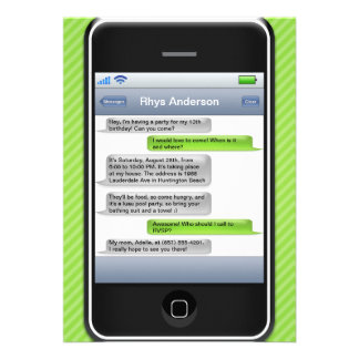 Lime Green Black Smart Phone iParty Birthday Party Personalized Invites