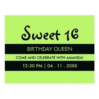 Lime Green Black Stripes   Sweet Sixteen Birthday Postcard