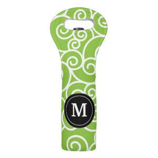 Lime Green Black Swirls Monogram Wine Tote