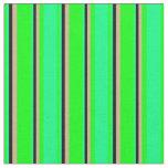 [ Thumbnail: Lime, Green, Black & Tan Striped Pattern Fabric ]