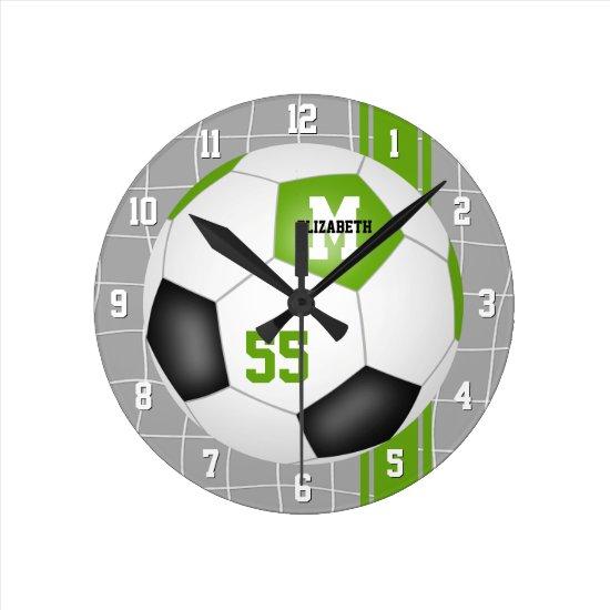 lime green black varsity stripes soccer player round clock