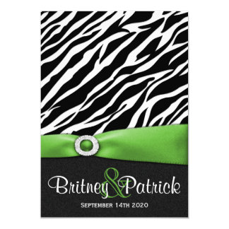 Lime Green Black White Zebra Wedding Invitations