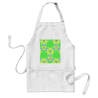 Lime Green Blue Abstract Bear Face Fractal Pattern Adult Apron